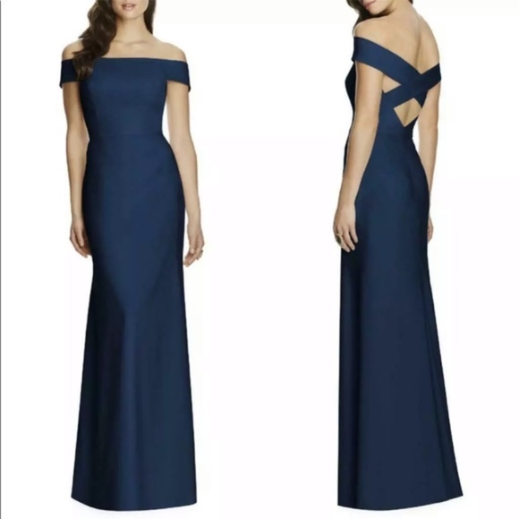 NWOT Dessy Collection Off-the-Shoulder Crepe Gown
